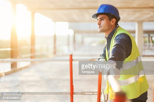 Construction worker after hard day's work.