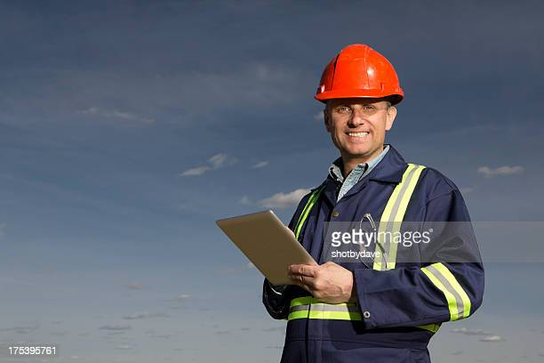 Construction Worker and Tablet