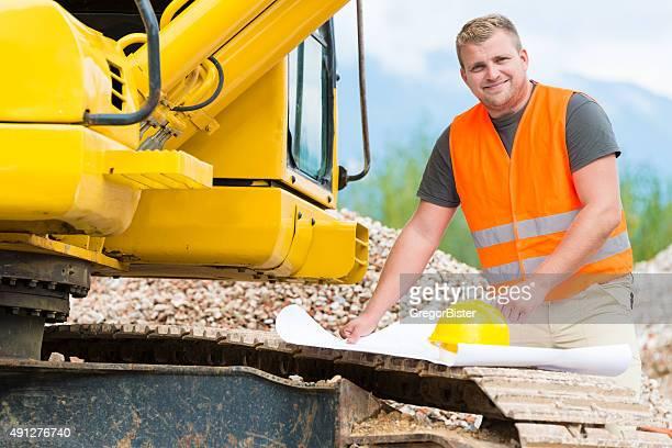Bauarbeiter, die Blaupause