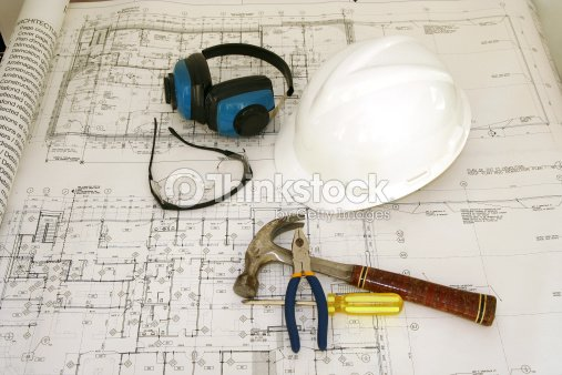 Bauarbeiter Ausstattung Und Zeichnen Stock Foto Thinkstock