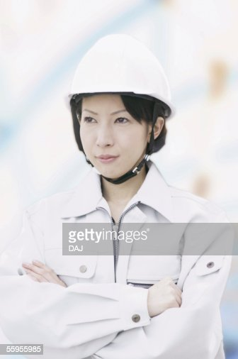 Construction Worker Folding Arms : Stock Photo