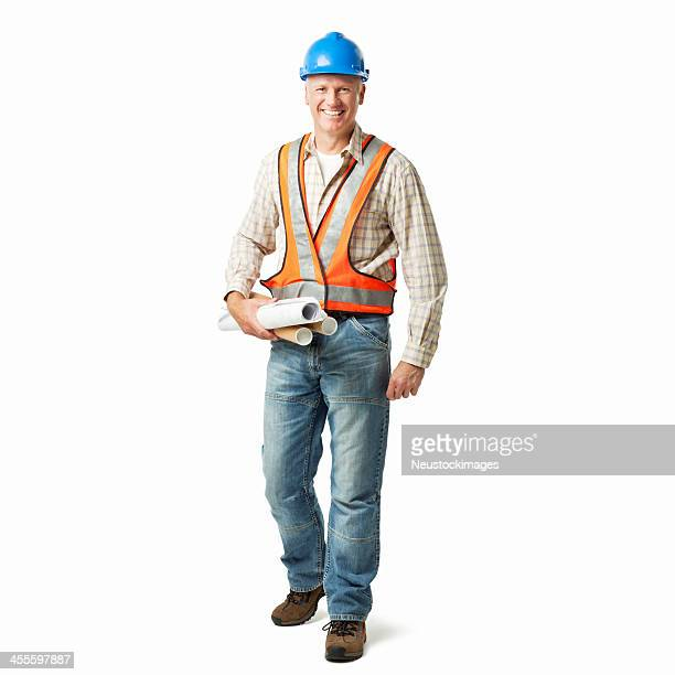 Construction Worker Holding Blueprints - Isolated