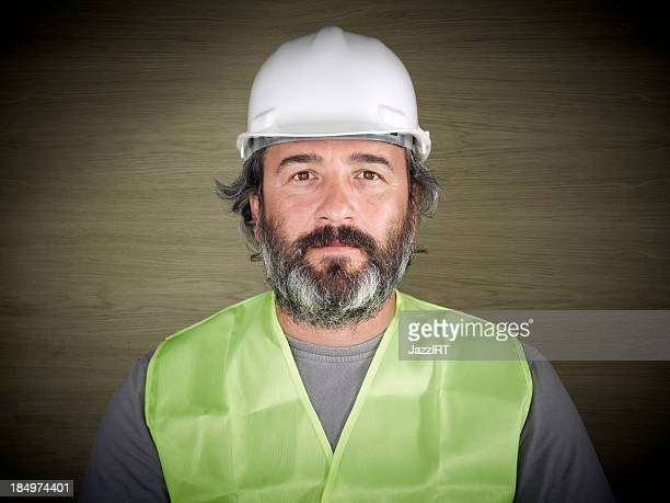 Construction worker in white hard hat