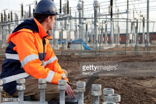 Construction worker is planning to build a power station.