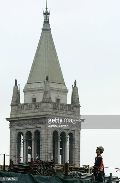 A construction worker is seen working near Sather Tower on the University of California at Berkeley campus February 24 2005 in Berkeley California...