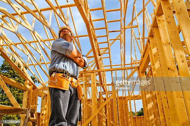Construction Worker Pausing to Admire Handiwork
