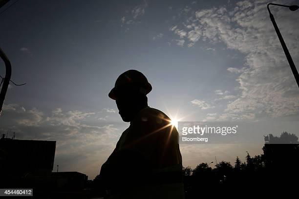 A construction worker stands at the site of the new Panepistimio metro station operated by Attiko Metro SA and part developed by Aegek SA during a...