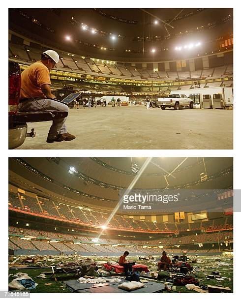 A construction worker uses his laptop during the reconstruction effort inside the Louisiana Superdome July 19 2006 in New Orleans Louisiana New...