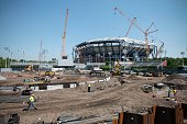 Construction Workers are seen at the USTA Billie Jean King National Tennis Center as they build the New Grand Stand in New York City on June 10 2015...