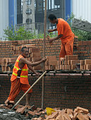Construction workers build a brick wall on a construction site in Beijing on July 29 2009 Shares in China State Construction Engineering Group...