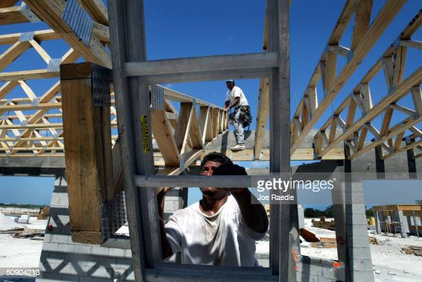 Construction workers build a new home May 27 2004 in Miami Florida According to the Commerce Department new home sales in the United States suffered...