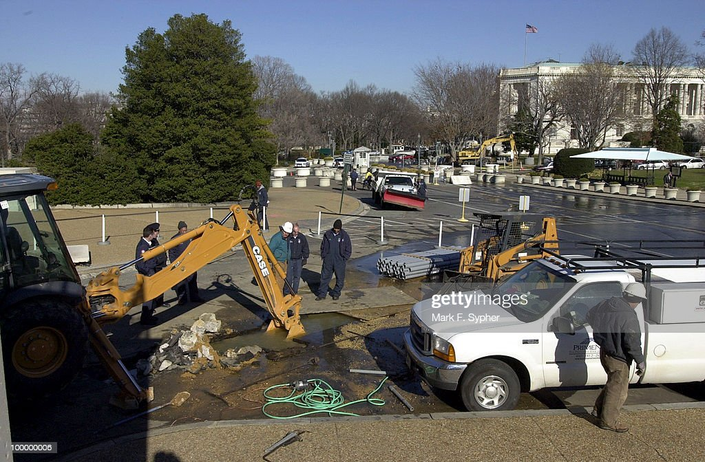 Construction workers dug a little too deep under ground on Tuesday morning, flooding the Senate side crosswalk because of a ruptured water main.