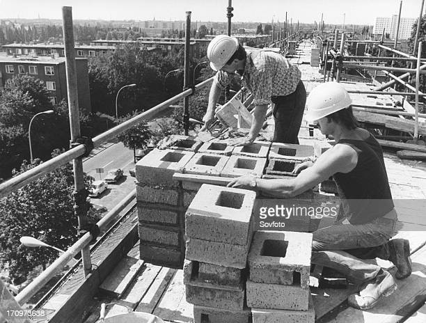 Construction workers east germany gdr 1984