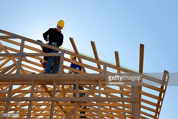 Construction Workers Framing-In Roof