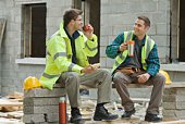 Construction workers taking a break