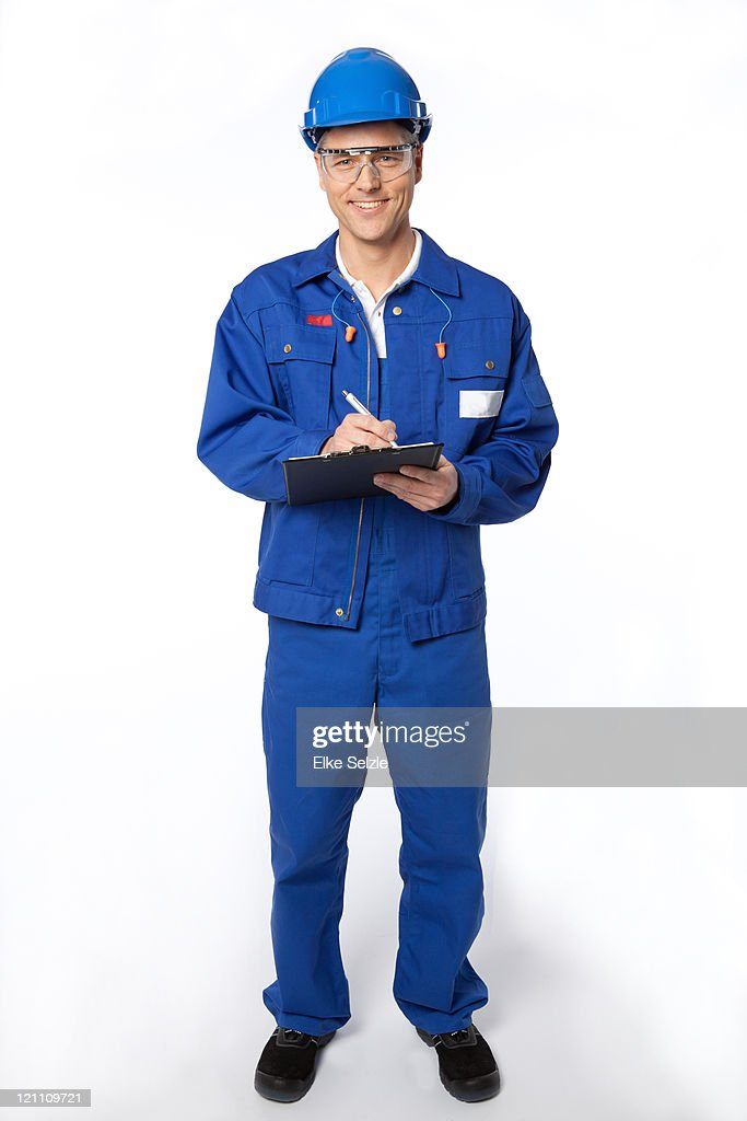 Constructor with clipboard and hard hat
