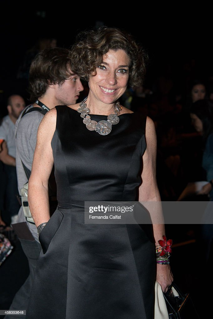 Consuelo Blocker attends the Victor Dzenk fashion show during Sao Paulo Fashion Week Winter 2015 at Parque Candido Portinari on November 3 2014 in...
