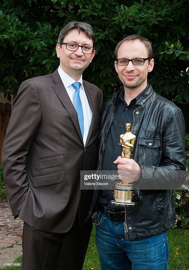 Consul General Of France, Axel Cruau and filmmaker Laurent Witz attend The Consul General Of France, Mr. Axel Cruau, Honors The French Nominees For The 86th Annual Academy Awards party on March 3, 2014 in Beverly Hills, California.