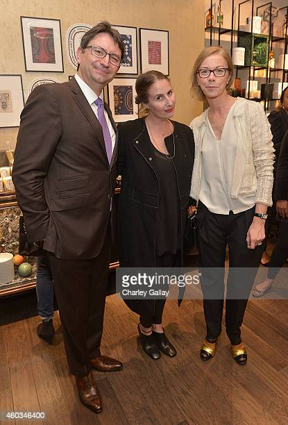 Consul General of France Axel Cruau Lauri Firtstenberg and diptyque's Fabienne Mauny attend diptyque and LAxART celebrates opening of Beverly Hills...