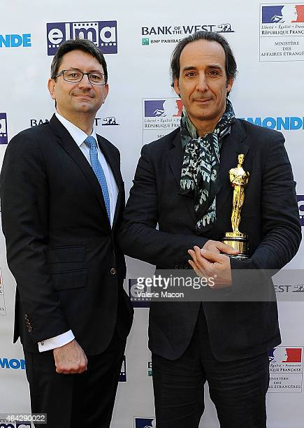 Consul General Of France Mr Axel Cruau and Alexandre Desplat attend The Consul General Of France Mr Axel Cruau Honors The French Nominees For The...