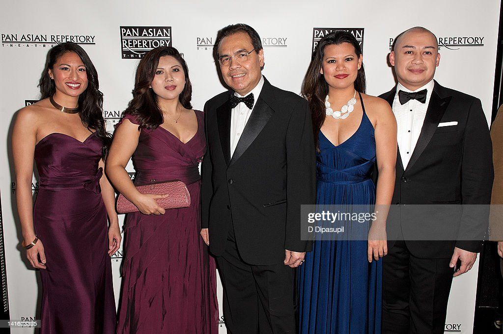 Consul General of the Philippines Mario L. De Leon Jr. (C) poses with cast members from the musical Imelda at 'Legacy And Homecoming' the Pan Asian Repertory's 35th Anniversary Gala at The Edison Ballroom on March 19, 2012 in New York City.
