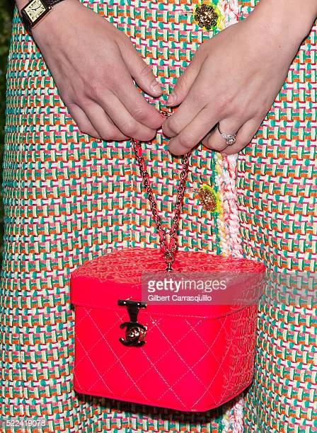 Consultant Audrey Gelman handbag detail attends the 11th Annual Chanel Tribeca Film Festival Artists Dinner at Balthazar on April 18 2016 in New York...
