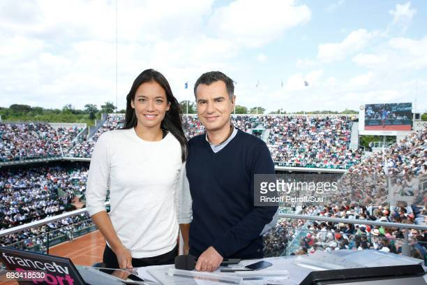 Consultant of 'France Television' Alize Lim and Sports Journalist Laurent Luyat pose at France Television french chanel studio during the 2017 French...