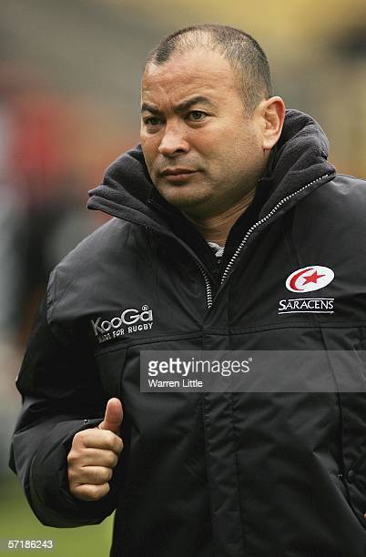 Consultant Saracens coach Eddie Jones gives the thumbs up during the Guinness Premiership match between Saracens and Worcester Warriors at Vicarage...