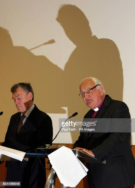 Consultative Group on the Past Co Chairman Lord Eames and former Policing Board vice chairman Denis Bradley speak at a press conference in Belfast