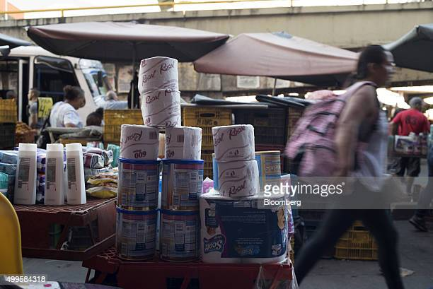 Consumer goods are displayed for sale in the Petare neighborhood of Caracas Venezuela on Thursday Nov 12 2015 Plagued by rampant crime unbridled...