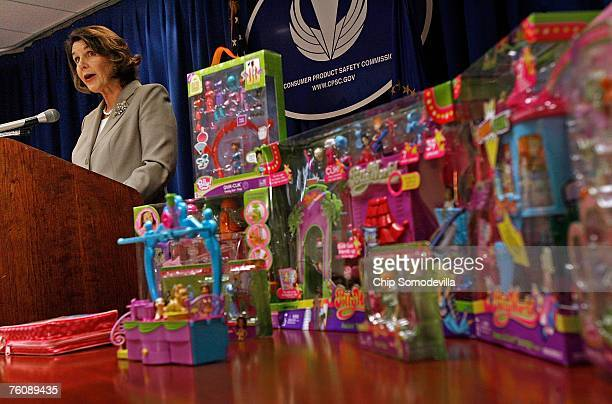S Consumer Product Safety Commission acting Chariman Nancy Nord announces the recall of millions of toys manufactured by Mattel Inc including many...
