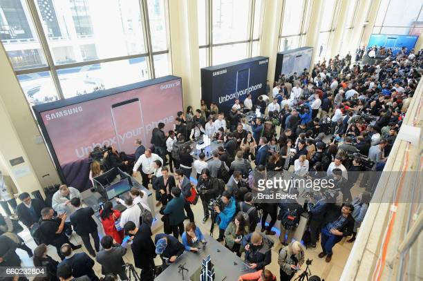 Consumers experience the new Samsung Galaxy S8 and S8 during Samsung Unpacked at David Geffen Hall on March 29 2017 in New York City