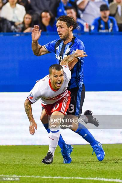 Contact between Toronto FC forward Sebastian Giovinco and Montreal Impact midfielder Marco Donadel during the Toronto FC versus the Montreal Impact...