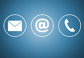Contact icons e mail newsletter phone concept.