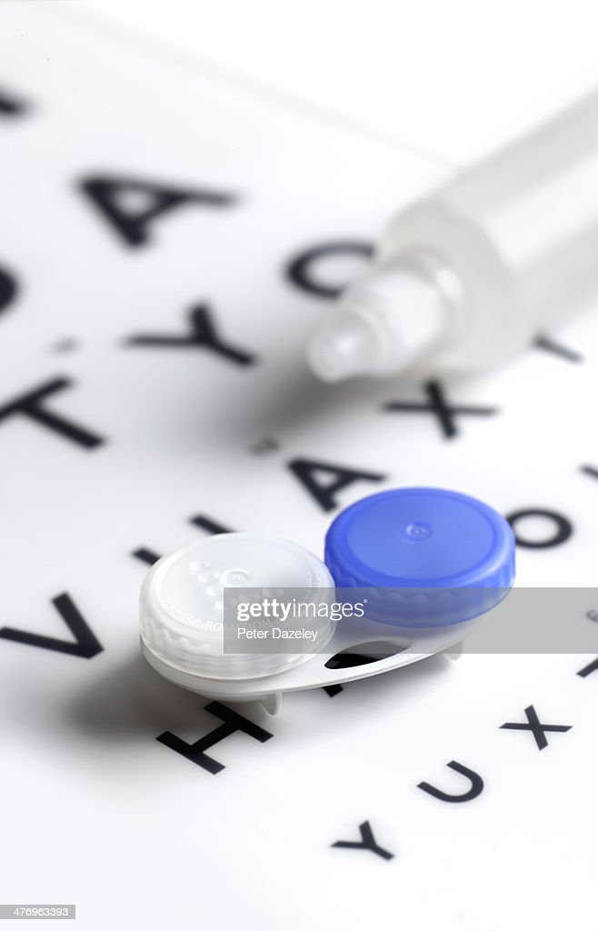 Contact lens case and solution : Stock Photo