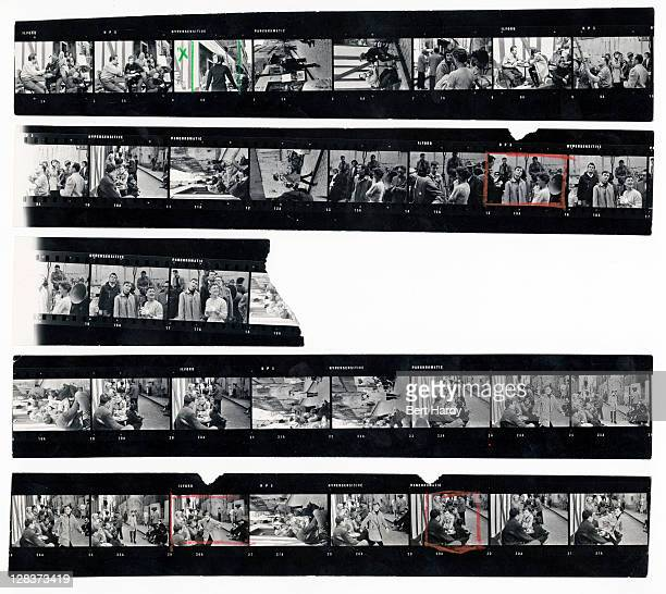 A contact sheet depicting actress Audrey Hepburn in Paris during filming of Stanley Donen's musical 'Funny Face' 18th June 1956 Original publication...