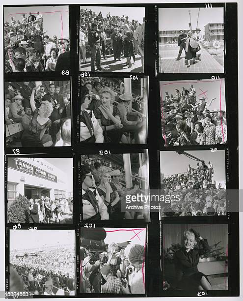 A contact sheet depicting American actress Marilyn Monroe on location at Arizona State Fairgrounds to film the rodeo scenes for Joshua Logan's 'Bus...