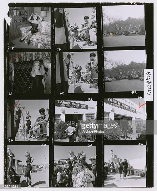 A contact sheet depicting American actress Marilyn Monroe on location in Phoenix Arizona to film the rodeo scenes for Joshua Logan's 'Bus Stop' USA...