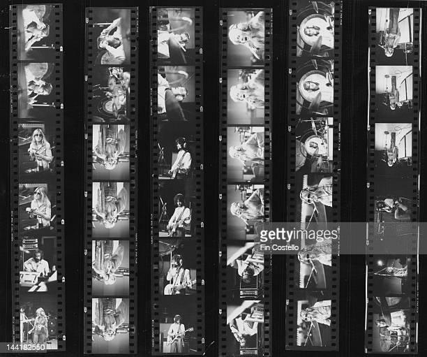 A contact sheet depicting BritishAmerican pop group Fleetwood Mac in a studio New Haven Connecticut October 1975