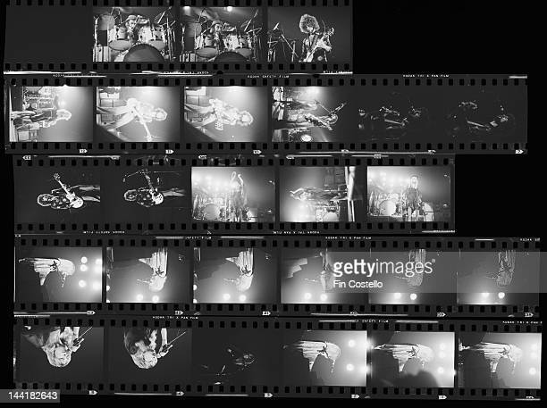 A contact sheet depicting BritishAmerican pop group Fleetwood Mac performing in New Haven Connecticut October 1975
