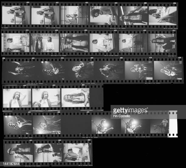 A contact sheet depicting BritishAmerican pop group Fleetwood Mac on and off stage in New Haven Connecticut October 1975