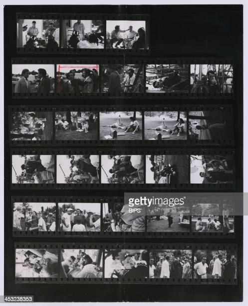 A contact sheet depicting Elizabeth Taylor Montgomery Clift and Rod Taylor on the set of Edward Dmytryk's 'Raintree County' during location filming...