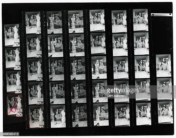 A contact sheet depicting Englishborn fashion designer Charles James at work in his studio at the Chelsea Hotel in New York City 1968 Original...