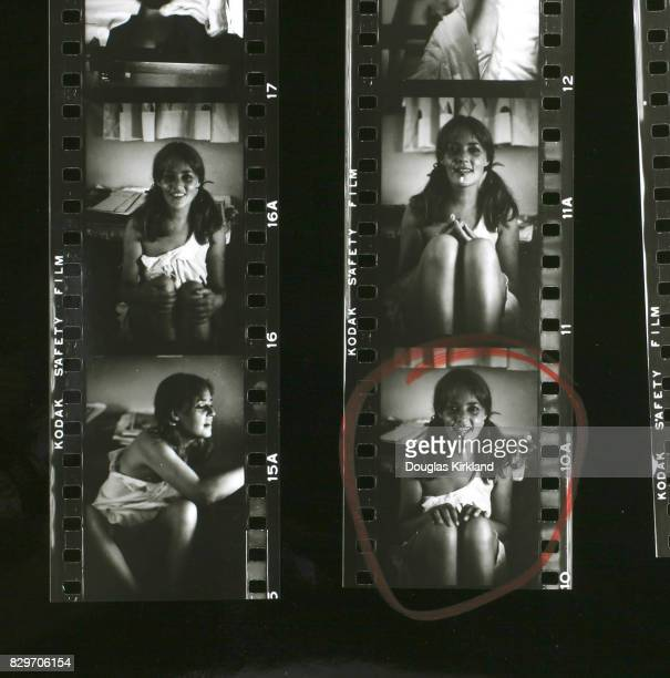 A contact sheet depicting French actress Jeanne Moreau with pigtails and a cigarette holder Cuernavaca Mexico 1965