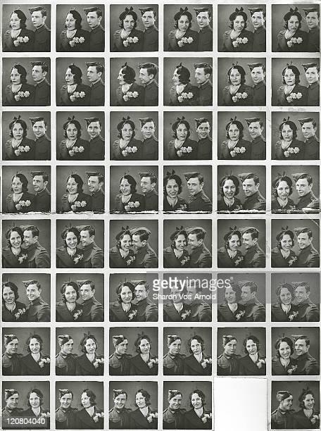 Contact sheet from wartime photo shoot