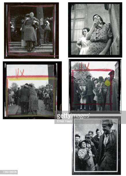 A contact sheet of Haas images depicting relatives at the Sudbahnhof in Vienna awaiting the return or news of Austrian prisoners of war from Stalin's...