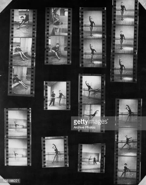 A contact sheet of images depicting Belgianborn actress Audrey Hepburn in a dance studio November 1954