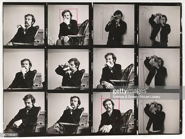 Contact sheet of portraits of British photographer Tony RayJones taken by Ainslie Ellis