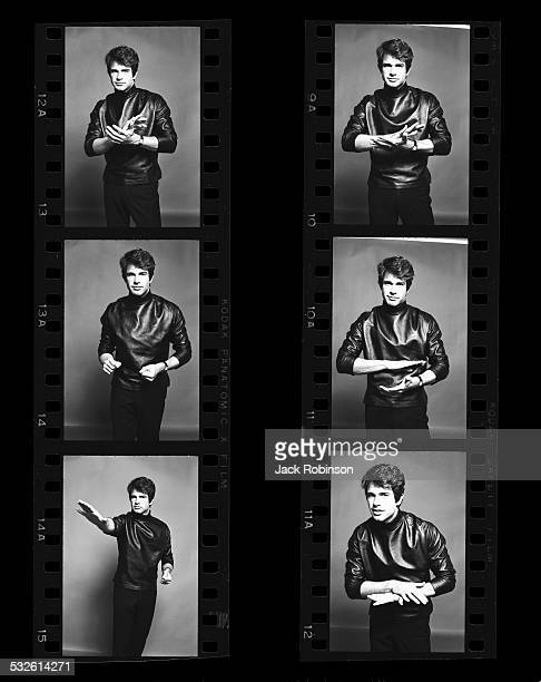 Contact sheet of portraits of the actor Warren Beatty wearing a black leather turtleneck late 1960s or early 1970s