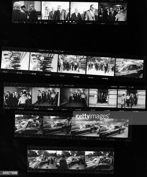 A contact sheet of Republican senator Barry Morris Goldwater of Arizona leaving the Cannon House Office Building followed by reporters and getting...
